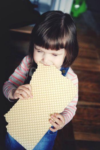 Girl eating waffle