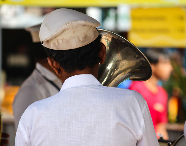 THE MAN AND THE TRUMPET Headwear Music Arts Culture And Entertainment Headshot Men Rear View Close-up Wind Instrument Brass Instrument  Brass Musical Instrument Trumpet Musical Equipment Capture Tomorrow