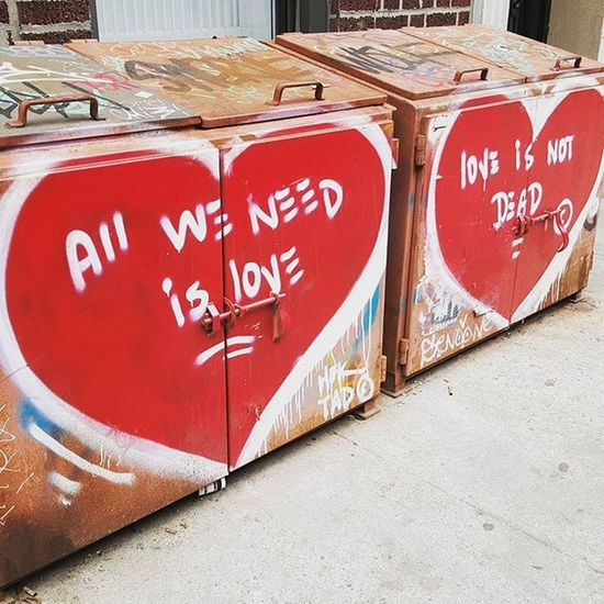 all we need is love. love is not dead. ♡☆♡☆ Graffiti NYC Heart Hektad Love Eastvillage Latergram