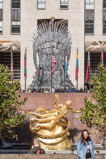 Rockerfeller Plaza Thrones Chair Games Of Thrones Built Structure Architecture Building Exterior Art And Craft Creativity Day Plant Real People Outdoors Representation