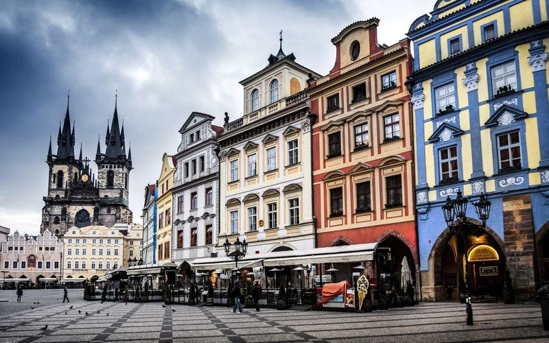 Prague street CZECH Arch Architecture Building Building Exterior Built Structure City City Life Cloud Cloud - Sky Day Façade Old Town Outdoors Sky Tourism Travel Destinations Colour Of Life