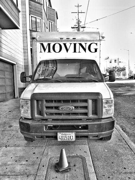 Stationary... Truck Moving Church Street San Francisco Monochrome Bw Black And White Snapseed Traffic Cone