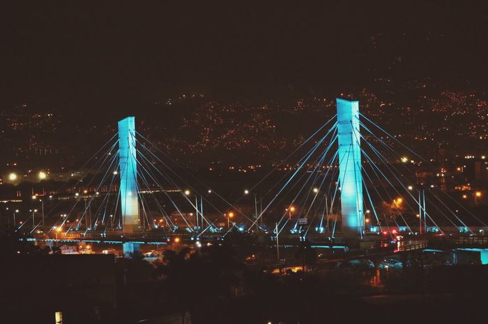 4sur bridge / puente de la 4 sur Medellin Architecture Illuminated Night Suspension Bridge Bridge - Man Made Structure Medellín