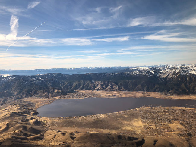 Aerial view of Washoe Lake and Lake Tahoe in Reno, Nevada Desert Reno NV Washoe Valley Aerial View Beauty In Nature Day Lake Tahoe Basin Lakes  Nature No People Outdoors Scenics Sky