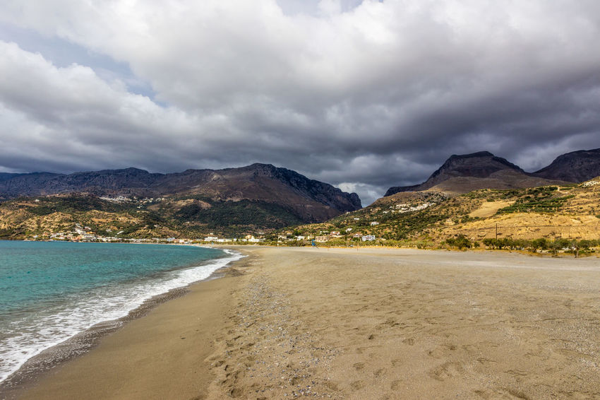 Plakias beach, south Crete, Greece Crete Greece Greece, Crete Holiday Holidays Sunlight Bay Beach Beauty In Nature Cloud - Sky Clouds And Sky Crete Greece Mountain Mountain Range Nature No People Plakias Sand Scenics Sea Storm Cloud Tourism Tranquil Scene Tranquility Travel Destinations