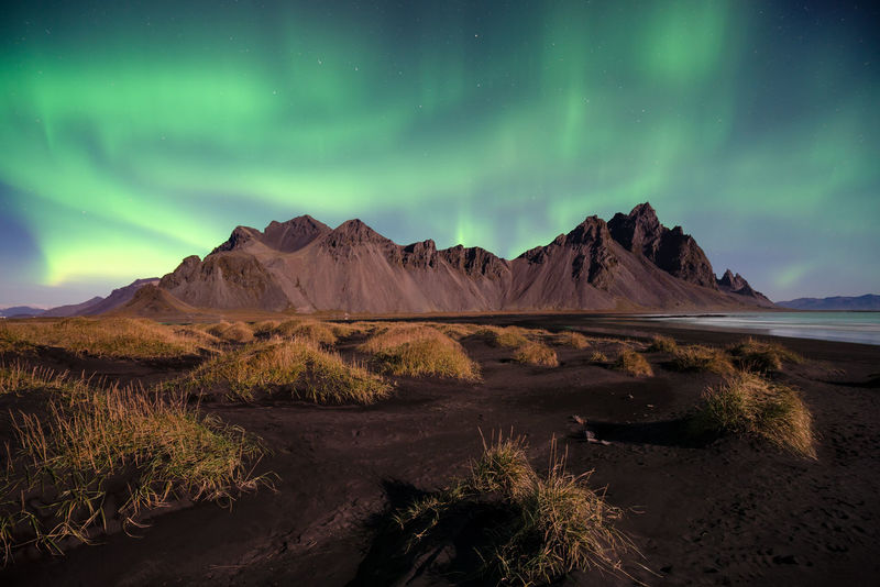 Northern lights on Northern Lights Indoors  Vestrahorn Night No People Beauty In Nature Scenics - Nature Sky Mountain Tranquil Scene Green Color Astronomy Landscape EyeEmNewHere