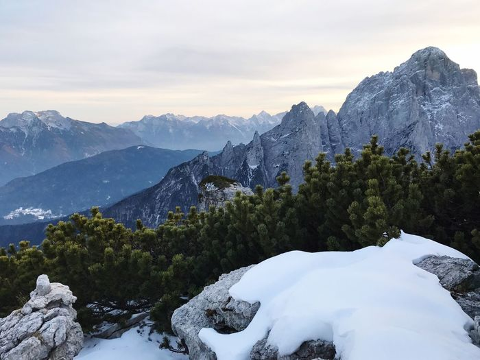 Mountain Beauty In Nature Sky Nature Scenics Mountain Range Snow Winter Tranquil Scene No People Outdoors Tranquility Cold Temperature Day Tree Dolomites, Italy Wakeupandexplore