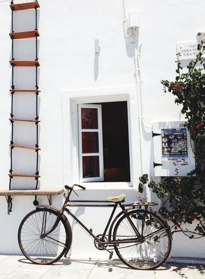 Santorini, Greece Aegean Sea Cyclades_islands Greek Holiday Greek Islands Cyclades Bicycle Ladder Shadow Shadows Vintage Vintage Bicycle Oia Santorini Oia Kyclades Thira Window White Wall Whitewash Whitewashed Walls Open Window Rope Ladder