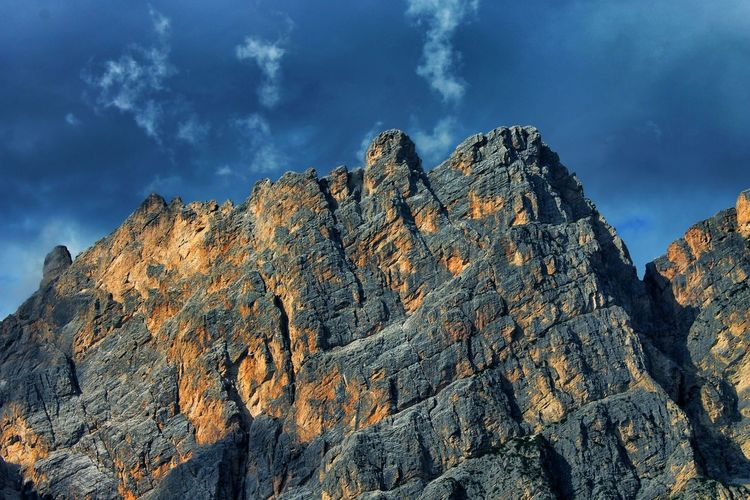 Low Angle View Of Rocky Mountains At Cortina D Ampezzo