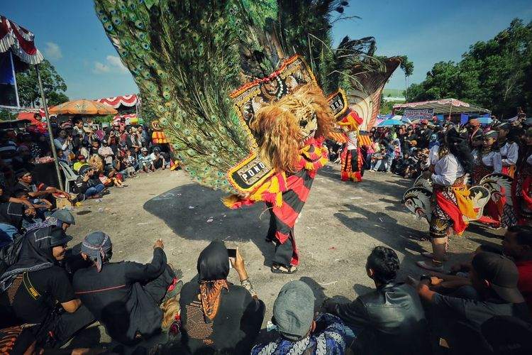 People performing reog ponorogo during festival