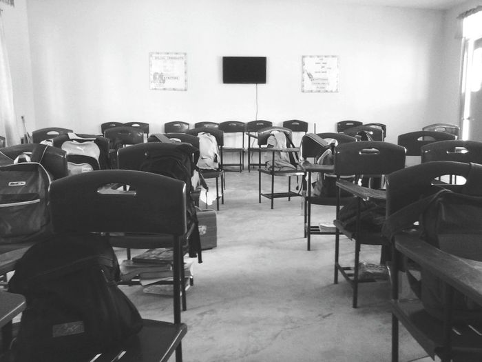 In the lonely room Blackandwhite EyeEm Classroom Chairs Lonelyday