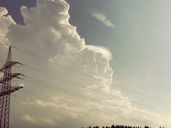 Cable Sky Cloud - Sky Low Angle View Power Line  Electricity  Connection Power Supply No People Electricity Pylon Fuel And Power Generation Outdoors Day Nature Technology Vapor Trail Beauty In Nature IPhone Photography