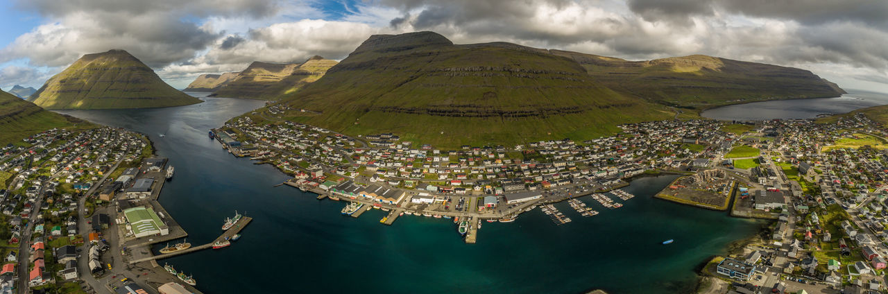 Aerial View Arial Shot Atlantic Ocean Birds Eye View Day Drone  Faroe Faroe Islands Floating On Water Klaksvik Majestic Mountain Nature Panorama Scenics Sky Town TOWNSCAPE Tranquil Scene Travel Photography Water Waterfront