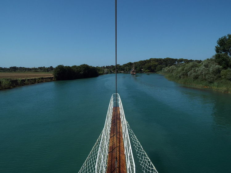 Bowsprit Ropes Trees Water Reflections Water River Blue Sky Blue Blue Water Boat Pirate Ship Day Trip Manavgat River On The Way
