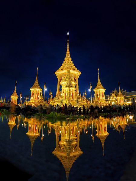 Thai Royal Crematorium Religion Illuminated Architecture Night Spirituality Place Of Worship Building Exterior Built Structure Gold Colored Sky Outdoors No People Bhumibol Adulyadej Kingrama9OfThailand KingramaIX Kingrama9 King