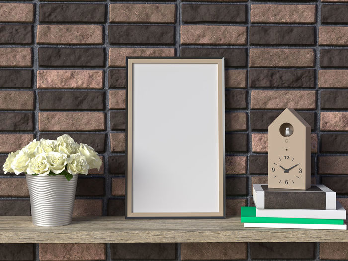 Frame mock up on shelves No People Wall - Building Feature Brick Wall Wall Indoors  Brick Container Communication Wood - Material Day Text Close-up Still Life Food And Drink Box Table Box - Container Nature Copy Space Blank