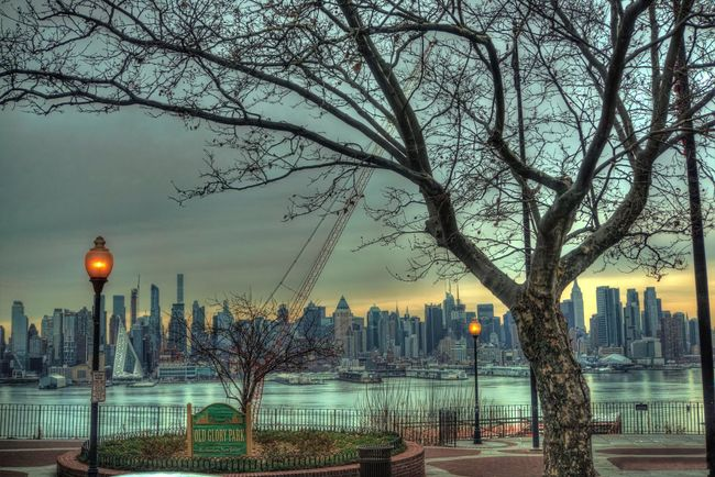 Gazing at New York Tree Bare Tree City Building Exterior Architecture Built Structure Skyscraper Outdoors Illuminated Cityscape City Life Water Urban Skyline Growth Branch No People Sky Sunset Nature Day Hdr Edit HDR Hdr_Collection Travel Destinations Tourism