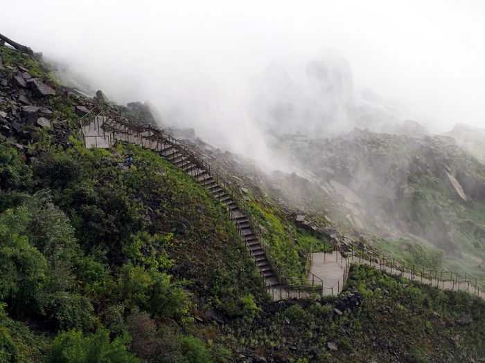 Stairs into the mist Architecture Drizzling Fog Mist Nature Outdoors Rocks Stairs Lost In The Landscape Perspectives On Nature