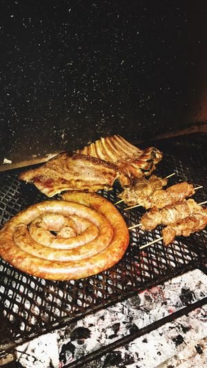 Barbeque in Africa Barbecue Braai Fire Food Porn Preparing Food Africa Day To Day Night Boerewors Lambrib Outdoors