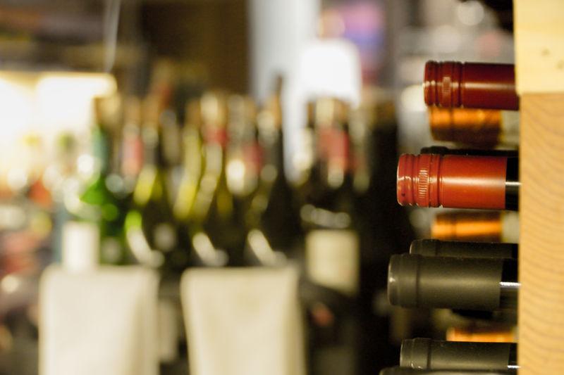 Close-up of wine bottles