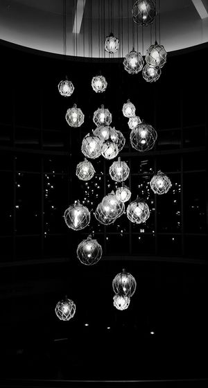 Suspended Glass Orbs / black and white. PhotographybyTripp Smartphone Photography Phoneography Samsung Galaxy Note 5 Camera360Ultimate Pixlr Beastgrip Pro Blackandwhite Photography Light And Dark Lightshow Suspended Light Suspended In Air Check This Out Creative Photography