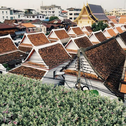 Old town Bangkok. Building Exterior Built Structure Roof Residential District High Angle View Architecture No People City Outdoors Town Travel Destinations TOWNSCAPE Thailand Building