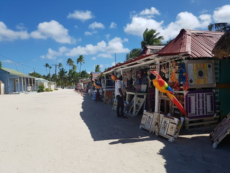 Shops on Beach in Las Pamillas, the only - very small - Village on Saona Island, Dom.Rep. ... EyeEm Selects Multi Colored Beach Sand Sky Architecture Cloud - Sky Coast The Street Photographer - 2018 EyeEm Awards