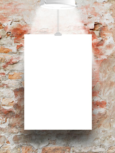 Single hanged paper sheet with lamp on damaged brick wall background A4 Dimension Format Bad Condition Broken Clip Deterioration Grunge Grungy Textures Lamp Light Old Paper Red Red Brick Wall Scratched And Cracked Wall Shades Of Grey Single Object Single Paper Sheet Studio Shot Transfer Print Vertical Frame Wall Wall - Building Feature Weathered Wall White