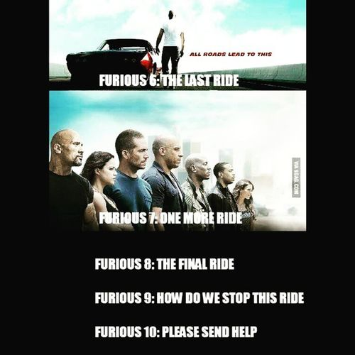 I am a fast and furious fan but this is hilarious !! Fastandfurious Onelastride Onelasttime Onemoreride hahahah speed furious lol everybodygetscrazy