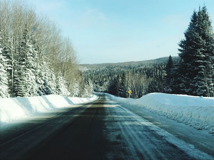 Car Interior Matane Amqui Québec Canada Snow Road Winter Cold Temperature The Way Forward Nature Shades Of Winter Tree Beauty In Nature Winding Road Scenics Transportation Day No People Landscape Mountain Outdoors Frozen Sky The Great Outdoors - 2018 EyeEm Awards