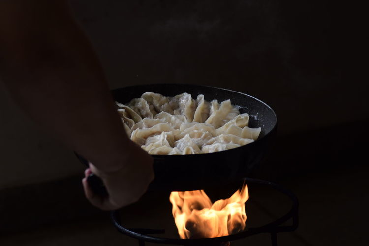 Cooking Chinese style gyoza(pot sticker) Chinese Chinese Food Chinese New Year Skillet- Cooking Pan Italian Food Black Background Flame Heat - Temperature Preparation  Close-up Sweet Food Food And Drink Cooking Pan EyeEmNewHere This Is Family