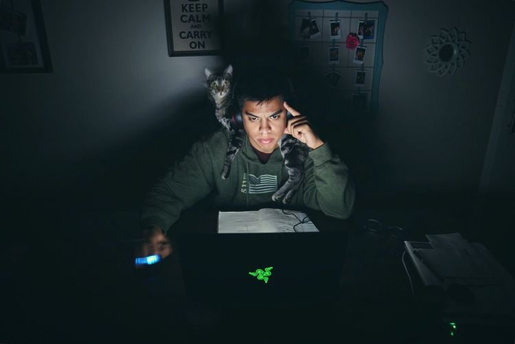 If you can't sleep, learn. Cat Funny Kitten Nightphotography Dark Laptop Working Studying Learning Razer 511 Long Exposure Available Light Check This Out That's Me Self Portrait SONY A7ii Showcase July The Portraitist - 2017 EyeEm Awards