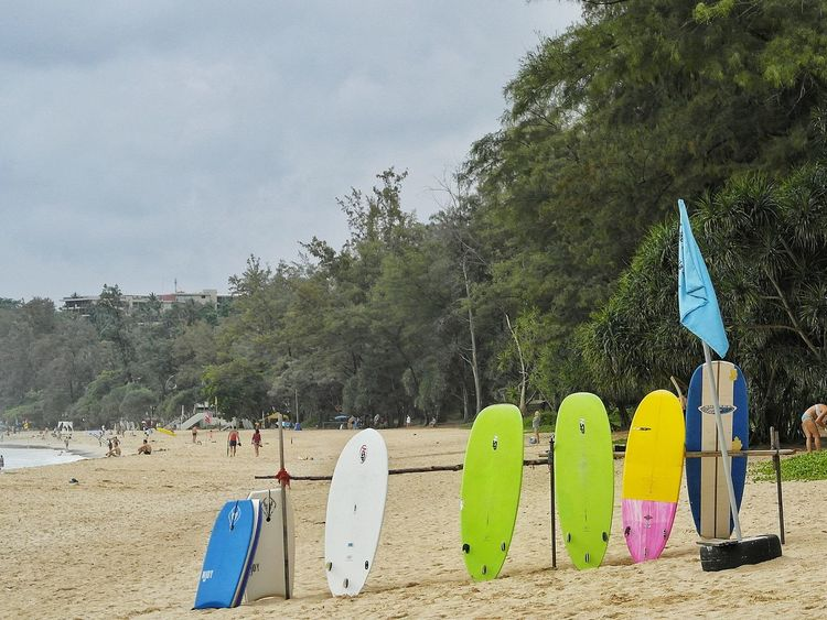 Beach No People Sand Outdoors Day Katanoibeach Phuket,Thailand Surf Board Sea Colorful Surfing