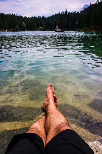 Relax Water Low Section Human Leg Real People Human Body Part Nature Personal Perspective Body Part Sunlight Outdoors Human Foot Lake One Person