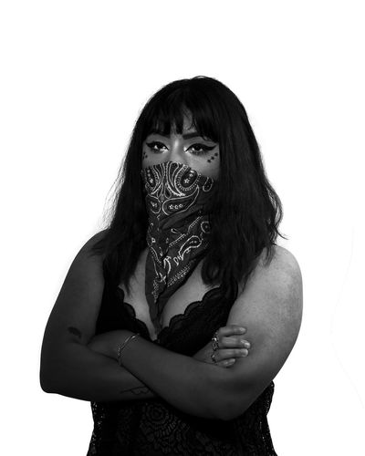 Monochrome Black And White Studio White Background Bandana Gangsta White Background Portrait Studio Shot Young Women Medium-length Hair Spooky Halloween Evil Sleeveless  Posing Sleeveless Top Head And Shoulders Angry The Portraitist - 2018 EyeEm Awards