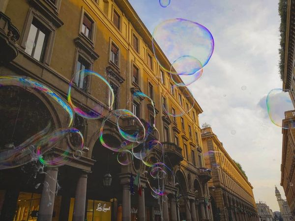 Turin Italy Torino Bolledisapone City Bubble Wand Multi Colored Rainbow Politics And Government Flag Bubble Refraction Sky Architecture Curve Soap Sud Bubble Bath Soap Hot Air Balloon Symbolism Ho Chi Minh City