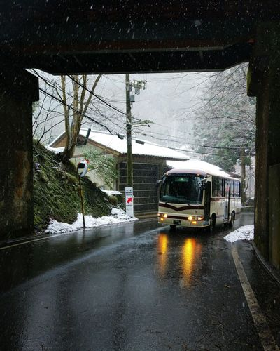 Bus Snowing Winter Waiting Road Trip Kyoto Ontheway Wet Cold Days Kifunejinja Whitesnow Blackroad