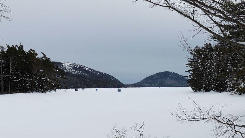 Maine Winterphotography Acadianationalpark Eaglelake Icehouse Icefishing Snowy Mountains Maine Winter Frozen Lake Winteractivity