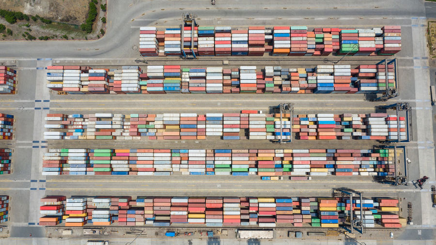 High angle view of container terminal