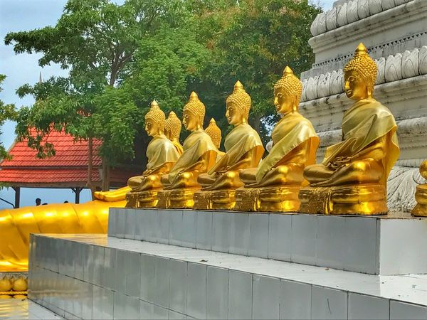Statue Religion Spirituality Male Likeness Human Representation Sculpture Gold Colored Gold Tree Place Of Worship No People Architecture Day Outdoors Sky