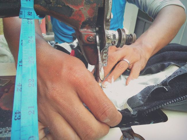 Tailor man Human Body Part Outdoors Human Hand Close-up Tailoring Sewing Machine Tailor Man Sewing