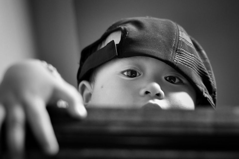 Baby Babyboy ❤ Asian  Asian Baby  Blackandwhite Eyes 14months Toddler  Playing Baby Cute Cute Only Head