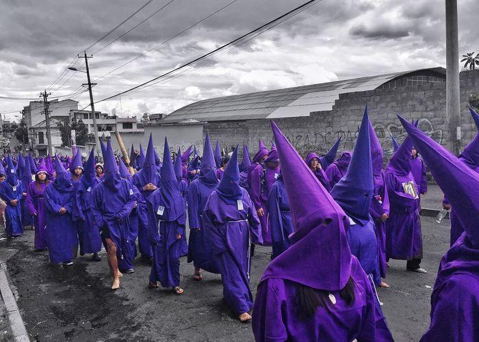 Resist Cucuruchos Religious Processions Purple Cap And Gown