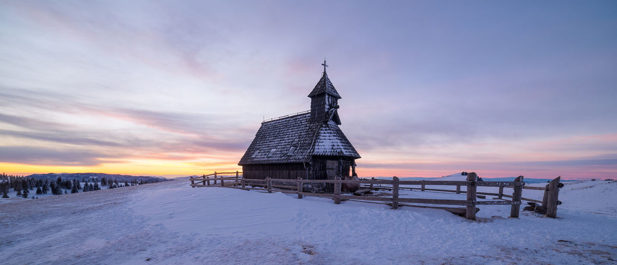 Chapel of Snow Mary on Velika Planina Architecture Beautiful Beauty In Nature Church Cold Temperature Dawn Fence Freezing Frozen Landscape Morning Nature Outdoors Sky Slovenia Snow Sunrise Travel Winter