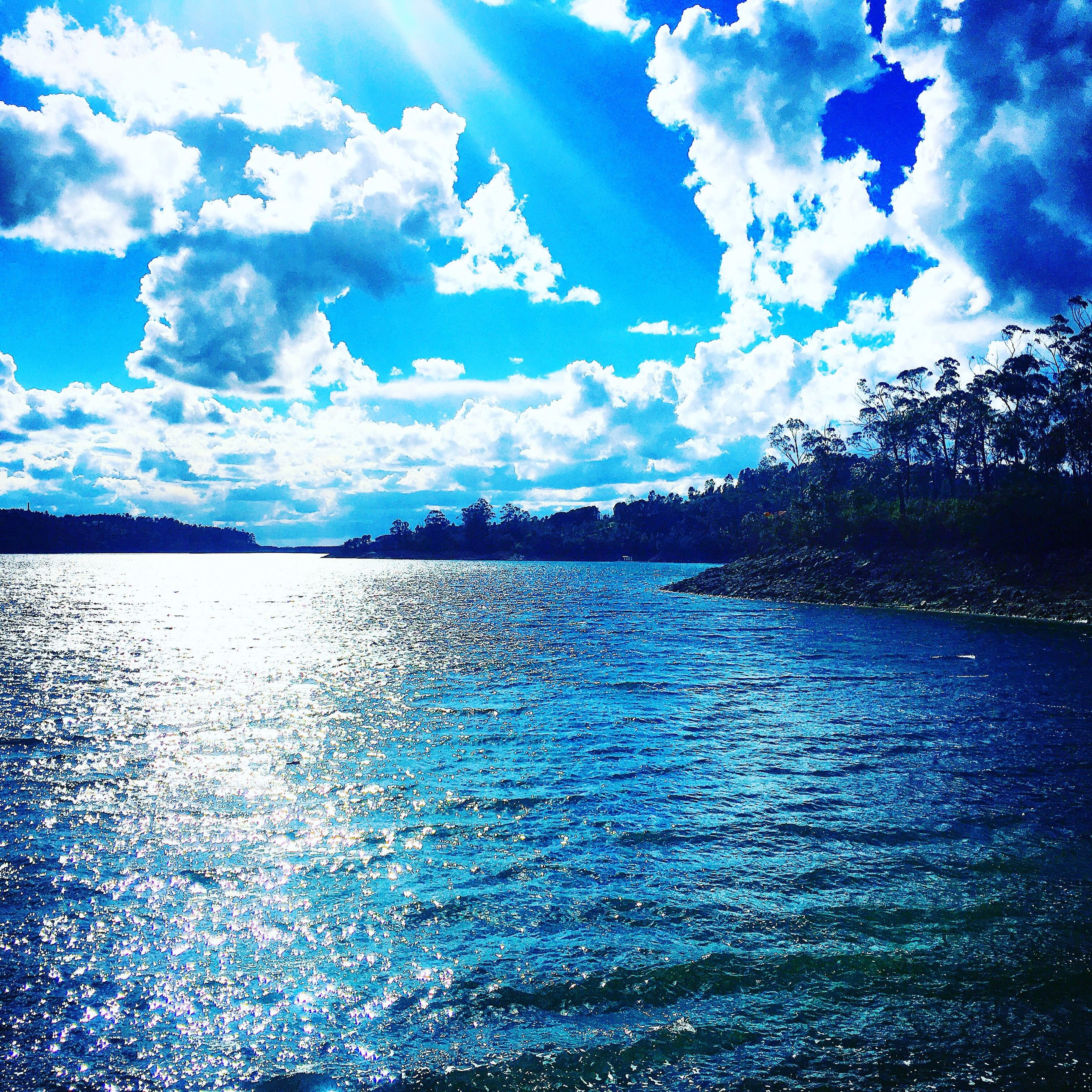sky, blue, cloud - sky, nature, water, outdoors, no people, day, scenics, beauty in nature, togetherness, pixelated