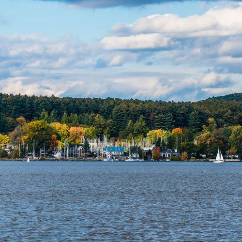 Canada Coast To Coast Oka River Autumn Fall Water Sky Cloud - Sky Nature Waterfront No People Day Tree Plant Beauty In Nature Scenics - Nature Architecture Tranquil Scene Tranquility Built Structure Growth Building Exterior Lake Outdoors View Into Land
