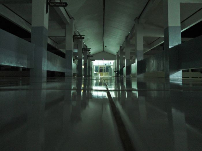 School building Architecture Boarding School Building Floor Indoors  Night No People Platform School Tile Way