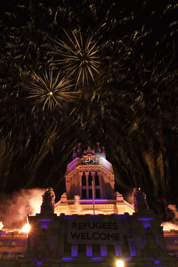 Celebration Fireworks Madrid Architecture Built Structure Firework Display Illuminated Long Exposure Low Angle View Night Outdoors Sky Town Hall