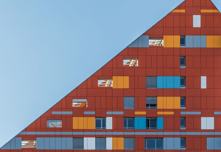 Abstract Apartment Architecture Building Building Exterior Clear Sky Copy Space Design Eye4photography  Geometric Geometry Lines Lines And Shapes Low Angle View Modern No People Outdoors Repetition Residential Building Tall - High Urban Urban Geometry Window The Graphic City