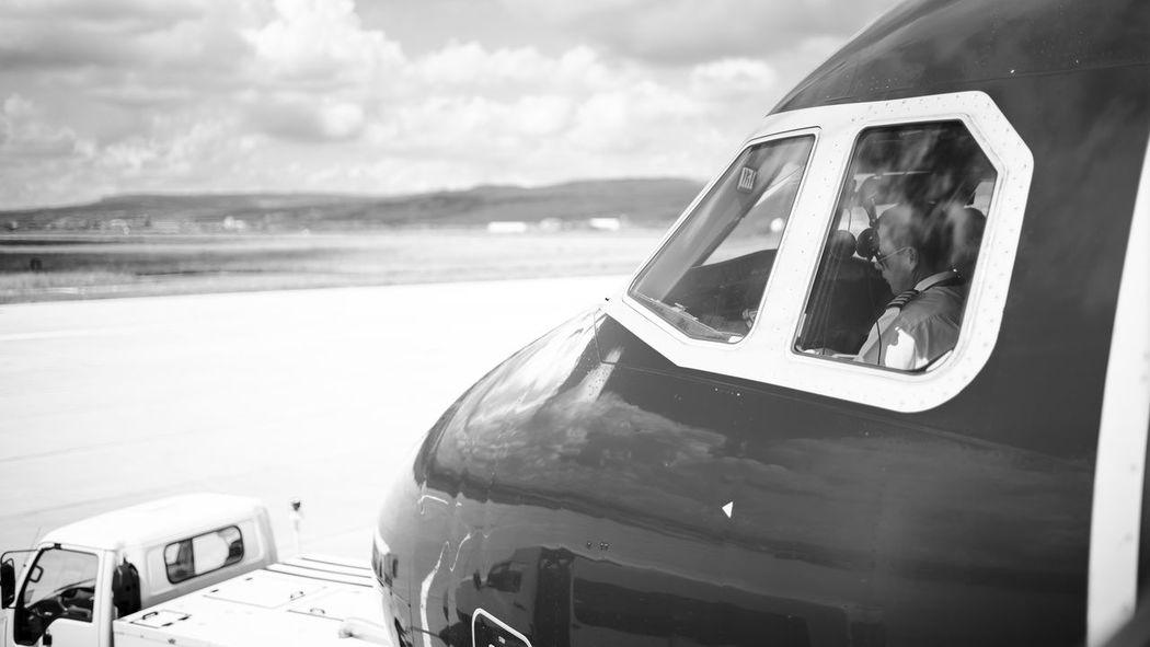 Airplane AirPlane ✈ Blackandwhite Photography Outdoors Sky Transportation Wizzair